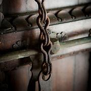 Old world hardware on a door on Prisoner Island. Tanzania, Africa.