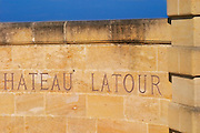 Detail of stone wall at Chateau Latour with inscription Pauillac Medoc Bordeaux Gironde Aquitaine France