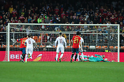 March 23, 2019 - Valencia, Valencia, Spain - Player of Norway scoring a goal during European Qualifiers championship, , football match between Spain and Norway, March 23th, in Mestalla Stadium in Valencia, Spain. (Credit Image: © AFP7 via ZUMA Wire)