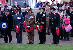© Licensed to London News Pictures. <br /> 16/12/2014. <br /> <br /> Hartlepool, United Kingdom<br /> <br /> Representatives of all services prepare to lay wreaths during a memorial event to commemorate the bombardment of Hartlepool by German warships during World War One. During the bombardment 130 civilians were killed and more than 500 were wounded. The Headland's Heugh Gun Battery returned fire in what was the only battle to be fought on British soil during World War One, and one of the Battery's soldiers, Theo Jones of the Durham Light Infantry, became the first British soldier to be killed by enemy action on home ground in the war.<br /> <br /> Photo credit : Ian Forsyth/LNP