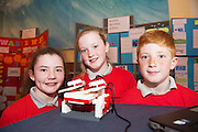 Sarah O Meara, Molloy Gomery, Colin Treacy from Raheen National School at the Galway Education centre's Junior First Lego League at the Radisson Blu hotel. Photo:Andrew Downes, xposure.