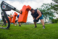 KELOWNA, CANADA - JULY 17:  Brendan Hansen, running back of the Okanagan Sun football takes part in a drill during Day 1 of training camp on July 17, 2018 at the Apple Bowl in Kelowna, British Columbia, Canada.  (Photo by Marissa Baecker/Shoot the Breeze)  *** Local Caption ***