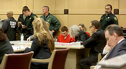 Nikolas Cruz appears in court for a status hearing before Broward Circuit Judge Elizabeth Scherer on Monday, Feb. 19, 2018. Cruz is facing 17 charges of premeditated murder in the mass shooting at Marjory Stoneman Douglas High School in Parkland, FL, USA Photo by Mike Stocker/Sun Sentinel/TNS/ABACAPRESS.COM