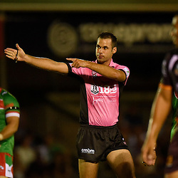 BRISBANE, AUSTRALIA - FEBRUARY 18: The referee signals a decision during the QLD Rugby League Intrust Super Cup Pre-Season match between Wynnum Manly and Brisbane Broncos at Kougari Oval on February 18, 2017 in Brisbane, Australia. (Photo by Patrick Kearney/Wynnum Manly Seagulls)