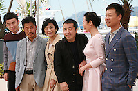 The cast; Dong Zijang, Liang Jingdong, Chang Sylvia,  Jia Zhang-Ke, Zhao Tao, Zhang Yi<br />  at the Mountains May Depart film photo call at the 68th Cannes Film Festival Tuesday May 20th 2015, Cannes, France.