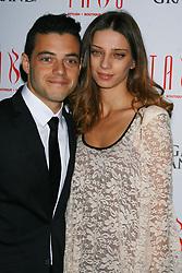 "Rami Malek and Angela Sarafyan from the film ""Twilight Breaking Dawn Part 2"" arrive at Tabu nightclub in Las Vegas, Nevada."