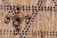 Iron door handle of a wooden, moroccan door in Ouarzazate, Morocco.