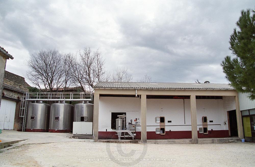 Domaine du Grand Chemin, Vin de Pays d'Oc. in Savignargues. Languedoc. The winery building. Kieselguhr filter. France. Europe.