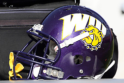 05 November 2011: Western Illinois Leatherneck football helmet  during an NCAA football game between the Western Illinois Leathernecks and the Illinois State Redbirds at Hancock Stadium in Normal IL