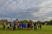 The North Dallas HS Bulldogs football team gather for their first day of practice at the schoo groundsl on the first day back to school  since the beginning of the Covid-19 pandemic. .(Photo by Jaime R. Carrero)