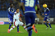 Cardiff City's Bruno Ecuele Manga (l) challenges M K Dons Nicky Maynard. Skybet football league championship match, Cardiff city v MK Dons at the Cardiff city stadium in Cardiff, South Wales on Saturday 6th February 2016.<br /> pic by Carl Robertson, Andrew Orchard sports photography.