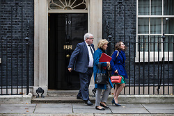 © Licensed to London News Pictures. 14/11/2017. London, UK. Chairman of the Conservative Party Patrick McLoughlin (L), Leader of the House of Commons Andrea Leadsom (C) and Leader of the House of Lords Baroness Evans (R) leave 10 Downing Street after the weekly Cabinet meeting. Photo credit: Rob Pinney/LNP
