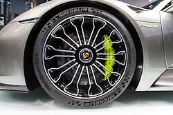 10.09.2013, Messegelaende, Frankfurt, GER, IAA 2013, im Bild Weltpremiere Porsche 918 Spyder, Vorderrad // during the IAA 2013 at the Messegelaende in Frankfurt, Germany on 2013/09/10. EXPA Pictures © 2013, PhotoCredit: EXPA/ Eibner/ Alexander Neis<br /> <br /> ***** ATTENTION - OUT OF GER *****