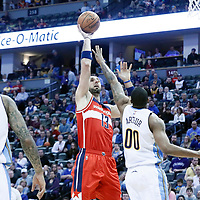 08 March 2017: Washington Wizards center Marcin Gortat (13) goes for the baby hook over Denver Nuggets forward Darrell Arthur (00) during the Washington Wizards 123-113 victory over the Denver Nuggets, at the Pepsi Center, Denver, Colorado, USA.