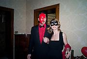 ALBERTO BASTIANELLO; GABRIELA KOVACS. Francesca Bortolotto Possati, Alessandro and Olimpia host Carnevale 2009. Venetian Red Passion. Palazzo Mocenigo. Venice. February 14 2009.  *** Local Caption *** -DO NOT ARCHIVE -Copyright Photograph by Dafydd Jones. 248 Clapham Rd. London SW9 0PZ. Tel 0207 820 0771. www.dafjones.com<br /> ALBERTO BASTIANELLO; GABRIELA KOVACS. Francesca Bortolotto Possati, Alessandro and Olimpia host Carnevale 2009. Venetian Red Passion. Palazzo Mocenigo. Venice. February 14 2009.