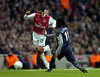 Photo: Olly Greenwood.<br />Arsenal v Bolton Wanderers. The FA Cup. 28/01/2007. Arsenal's Theo Wallcott goes past Bolton's Ricardo Gardner