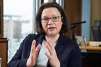 15 MAR 2018, BERLIN/GERMANY:<br /> Andrea Nahles, SPD Fraktionsvorsitzende, waehrend einem Interview, in ihrem Buero, Jakob-Kaiser-Haus, Deutscher Bundestag<br /> IMAGE: 20180315-01-004<br /> KEYWORDS: Büro
