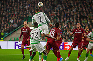 Christopher Jullien rises for a header during the Europa League match between Celtic and CFR Cluj at Celtic Park, Glasgow, Scotland on 3 October 2019.