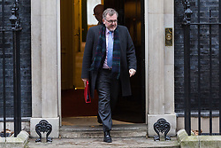 London - Scotland Secretary David Mundell leaves the weekly meeting of the UK cabinet at Downing Street. January 23 2018.
