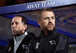 """Derby County manager Gary Rowett (right) and assistant Kevin Summerfield during the Sky Bet Championship match at Loftus Road, London. PRESS ASSOCIATION Photo. Picture date: Tuesday March 6, 2018. See PA story SOCCER QPR. Photo credit should read: Tim Goode/PA Wire. RESTRICTIONS: EDITORIAL USE ONLY No use with unauthorised audio, video, data, fixture lists, club/league logos or """"live"""" services. Online in-match use limited to 75 images, no video emulation. No use in betting, games or single club/league/player publications."""