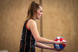Emily Silderhuis #11 of Talent Team  in action during the first league match in the corona lockdown between Talentteam Papendal vs. Sliedrecht Sport on January 09, 2021 in Ede.