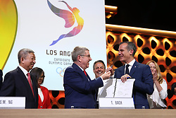 LIMA, Sept. 14, 2017  International Olympic Committee (IOC) President Thomas Bach (front C) gives the pen to Eric Garcetti (front R), Mayor of Los Angeles, after sign the contract during the presentation and announcement ceremony of the 2024 and 2028 Summer Olympic Games at the 131st IOC session in Lima, Peru, on Sept. 13, 2017. The IOC makes historic decision by simultaneously awarding Olympic Games 2024 to Paris and 2028 to Los Angeles on wednesday. (Credit Image: © Li Ming/Xinhua via ZUMA Wire)