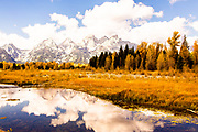 Cloudy Tetons Reflected in the Buffalo Fork of the Snake River Grand Teton National Park Wyoming
