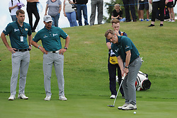 © Licensed to London News Pictures. 01/07/2017. London, UK, Actor James Nesbitt putts onto the green watched by his team mate Keith Duffy of Boyzone during The 2017 Celebrity Cup golf tournament at the Celtic Manor Resort, Newport, South Wales. Photo credit: Jeff Thomas/LNP