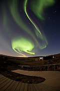 Aurora Borealis at the visitor center in Þingvellir National Park, south-west Iceland