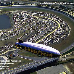 aerial view of Daytona International Speedway, with GoodYear Blimp