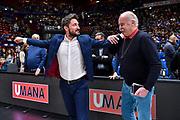 Toni Cappellari, Gianmarco Pozzecco<br /> A|X Armani Exchange Olimpia Milano - Banco di Sardegna Dinamo Sassari<br /> Legabasket LBA Serie A 2019-2020<br /> Sassari, 16/11/2019<br /> Foto L.Canu / Ciamillo-Castoria