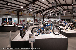 Seven Motorcycles' Takatoshi Suzuki's Skinny Teal custom 1967 Harley-Davidson Panhead in the What's the Skinny Exhibition (2019 iteration of the Motorcycles as Art annual series) at the Sturgis Buffalo Chip during the Sturgis Black Hills Motorcycle Rally. SD, USA. Wednesday, August 7, 2019. Photography ©2019 Michael Lichter.