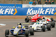 Zane Maloney(BAR) Carlin Motorsport leads a group of drivers out of the hairpin during the FIA Formula 4 British Championship at Knockhill Racing Circuit, Dunfermline, Scotland on 15 September 2019.