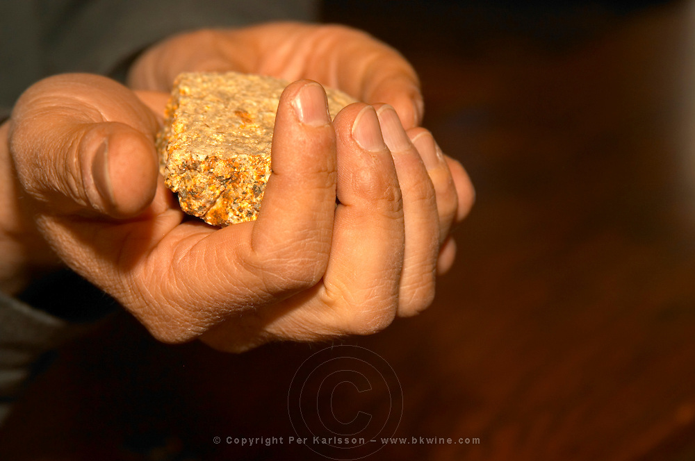 Paul Ansellem, husband of Christine Vernay, the daughter of Georges, holding in the hand a stone rock soil sample from the soil that is typical for Condrieu. Condrieu, Rhone, France, Europe Domaine Georges Vernay