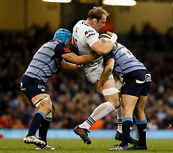 Ospreys' Alun Wyn Jones is tackled by Cardiff Blues' Garyn Smith<br /> <br /> Photographer Simon King/Replay Images<br /> <br /> Guinness PRO14 Round 21 - Cardiff Blues v Ospreys - Saturday 28th April 2018 - Principality Stadium - Cardiff<br /> <br /> World Copyright © Replay Images . All rights reserved. info@replayimages.co.uk - http://replayimages.co.uk