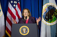Administrator Karen Mills of the Small Business Administration addresses the leaders of the 565 federally recognized Native American tribes at the 2011 White House Tribal Nations Conference hosted by President Barack Obama. The 2011 White House Tribal Nations Conference was held at the U.S. Department of the Interior in Washington, DC on December 2nd, 2011.