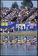 Sydney. AUSTRALIA. 2000 Summer Olympic Regatta, Penrith. NSW.  <br /> <br /> GER W4X. Gold  medalist: <br /> Bow. EL QALQILI-KOWALSKI, Kerstin.. 2. LUTZE, Manuela. 3. KOWALSKI, Manja, stroke EVERS, Meike<br /> <br /> Position: Bow<br /> EL QALQILI-KOWALSKI, Kerstin<br /> [Mandatory Credit Peter SPURRIER/ Intersport Images] Sydney International Regatta Centre (SIRC) 2000 Olympic Rowing Regatta00085138.tif