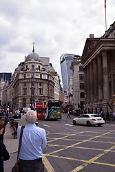 Old and new in the City of London UK July 2019. 20 Fenchurch Street in the background, Royal Exchange in the foreground
