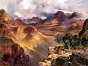 Grand Canyon of the Colorado' , 1908.  Thomas Moran (1837-1926) English-born American artist. United States National Park  Landscape Mountain Rock Geology Gorge River Cloud Remote Deserted