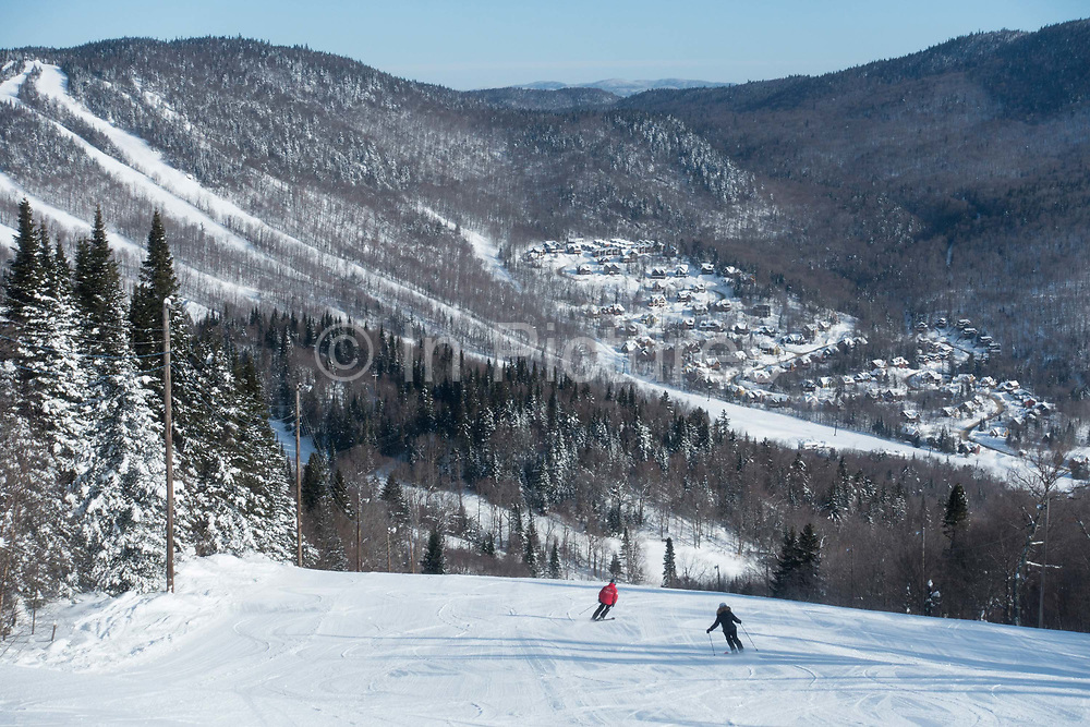 Quiet pistes during the FIS World Cup on 08th February 2017 in Stoneham Mountain, Canada. The Canadian Jamboree is part of the ski and snowboard FIS World Cup circuit held in Quebec City and Stoneham Mountain.