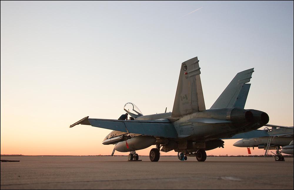 Canadian CF-18 sitting on the runway at the airport in Salina, Kansas.
