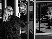 19 APRIL 2019 - HARLAN, IOWA: A woman walks into a campaign event for Senator KIRSTEN GILLIBRAND in Harlan,  a rural Iowa town. Gillibrand is campaigning in western Iowa Friday to support her candidacy to be the Democratic nominee for the US presidency in the 2020 election. Iowa traditionally hosts the the first selection event of the presidential election cycle. The Iowa Caucuses will be on Feb. 3, 2020.                      PHOTO BY JACK KURTZ