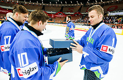 Anze Kuralt, Andrej Hocevar of Slovenia celebrate after the ice hockey match between National Teams of Austria and Slovenia in 5th Round of 2016 IIHF Ice Hockey World Championship Division 1 - Group A, on April 29, 2016 in Spodek Arena, Katowice, Poland. Photo by Marek Piuyzs / Sportida