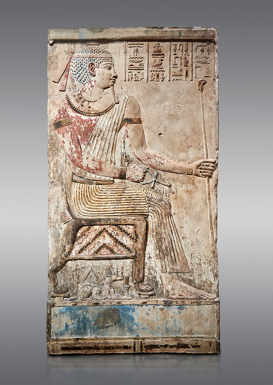 Ancient Egyptian stele of Piamon who drowned in the Nile and was deified like Osiris, Ptlomemaic Period (332-30 BC),  Egyptian Museum, Turin. Grey background, Old Fund cat 1556. .<br /> <br /> If you prefer to buy from our ALAMY PHOTO LIBRARY  Collection visit : https://www.alamy.com/portfolio/paul-williams-funkystock/ancient-egyptian-art-artefacts.html  . Type -   Turin   - into the LOWER SEARCH WITHIN GALLERY box. Refine search by adding background colour, subject etc<br /> <br /> Visit our ANCIENT WORLD PHOTO COLLECTIONS for more photos to download or buy as wall art prints https://funkystock.photoshelter.com/gallery-collection/Ancient-World-Art-Antiquities-Historic-Sites-Pictures-Images-of/C00006u26yqSkDOM