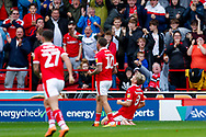 Barnsley midfielder Cameron McGeehan (8) scores a goal and celebrates to make the score 2-0 during the EFL Sky Bet League 1 match between Barnsley and Luton Town at Oakwell, Barnsley, England on 13 October 2018.