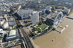 © Licensed to London News Pictures. 26/04/2016. London, UK. The Shell Centre on the South Bank of the Thames has a £1.3bn redevelopment currently taking place. The development will include seven new blocks clustered around the existing Shell Tower (from 1961), which will be refurbished. Photo credit: Martin Apps/LNP