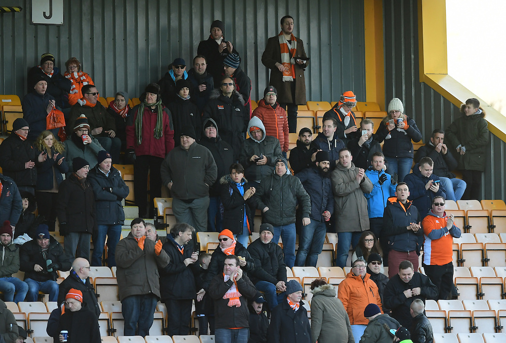 Blackpool fans before kick off<br /> <br /> Photographer Chris Vaughan/CameraSport<br /> <br /> The EFL Sky Bet League Two - Cambridge United v Blackpool - Saturday 14th January 2017 - The Cambs Glass Stadium - Cambridge<br /> <br /> World Copyright © 2017 CameraSport. All rights reserved. 43 Linden Ave. Countesthorpe. Leicester. England. LE8 5PG - Tel: +44 (0) 116 277 4147 - admin@camerasport.com - www.camerasport.com