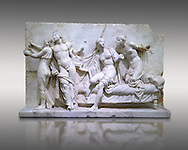 Roman Relief panal from the Naples Museum of Archaeology, Italy.<br /> <br /> If you prefer to buy from our ALAMY STOCK LIBRARY page at https://www.alamy.com/portfolio/paul-williams-funkystock/greco-roman-sculptures.html . Type -    Naples    - into LOWER SEARCH WITHIN GALLERY box - Refine search by adding a subject, place, background colour, etc.<br /> <br /> Visit our ROMAN WORLD PHOTO COLLECTIONS for more photos to download or buy as wall art prints https://funkystock.photoshelter.com/gallery-collection/The-Romans-Art-Artefacts-Antiquities-Historic-Sites-Pictures-Images/C0000r2uLJJo9_s0