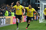 Sebastian Prodl of Watford (l) celebrates after scoring his sides 2nd goal with Troy Deeney, the Watford captain. Premier league match, Watford v Everton at Vicarage Road in Watford, London on Saturday 10th December 2016.<br /> pic by John Patrick Fletcher, Andrew Orchard sports photography.