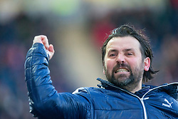 Falkirk's manager Paul Hartley after Reghan Tumility scored their second goal. Falkirk 6 v 1 Dundee United, Scottish Championship game played 6/1/2018 played at The Falkirk Stadium.
